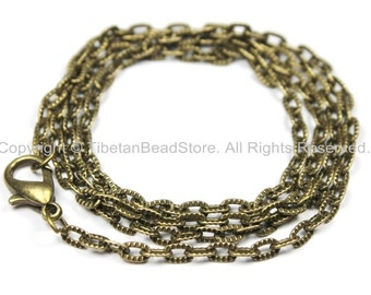 """1 Chain Antiqued Bronze Tone Long Necklace Chain with Lobster Clasp- 24"""" Bronze Jewelry Chain-24 Inches Jewelry Chain- C35-1"""