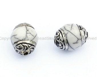 2 beads - Tibetan White Crackle Resin Beads with Tibetan Silver Caps - Handmade Ethnic Tibetan Beads Pendants Jewelry - B901-2