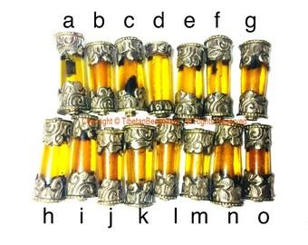 1 BEAD Tibetan Amber Resin Bead with Antiqued Repousse Tibetan Silver Caps - Ethnic Nepal Tibetan Tribal Amber Barrel Beads - B3081