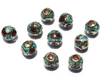 10 Beads - Nepalese Round Cube Beads with Brass, Turquoise & Coral Inlays - B920