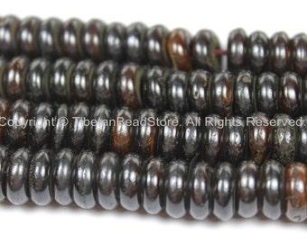 50 BEADS Tibetan Flat Disc Dark Bone Beads - 10-11mm Dark Color Bone Disc Beads- TibetanBeadStore Mala Supplies- LPB128-50