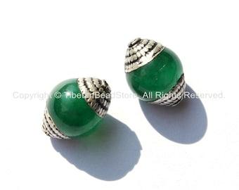 2 BEADS - Ethnic Tibetan Green Jade Beads with Tibetan Silver Caps - Ethnic Nepal Tibetan Artisan Handmade Beads - B1820-2