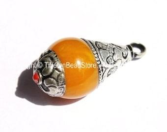 Tibetan Amber Resin Drop Pendant with Tibetan Silver Caps - Handmade Tribal Ethnic Tibetan Pendant - WM2836-1