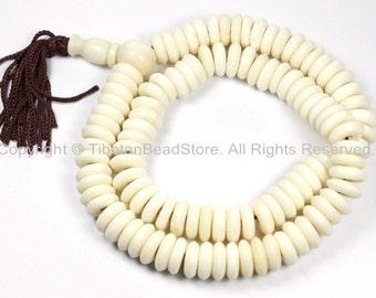 108 BEADS Tibetan Flat Disc Bone Mala Prayer Beads - Ivory Cream White Color Bone Disc Beads- TibetanBeadStore Mala Supplies- PB126
