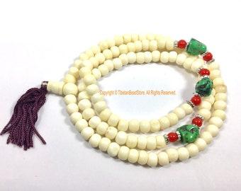 Ethnic Tibetan White Bone Mala Prayer Beads - Buddhist Tibetan Rosary Prayer Beads Meditation Supplies - Tribal Bone Mala from Nepal - PB208