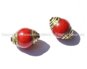 2 BEADS - Tibetan Red Jade Beads with Brass Caps - Handmade Tibetan Beads, Pendants, Jewelry - TibetanBeadStore - B1411-2