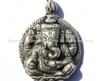 Ganesha Charm Pendant - Ethnic Nepal Tibetan Ganesh Ganesa Charm Pendant - Handmade TibetanBeadStore Jewelry - WM1064