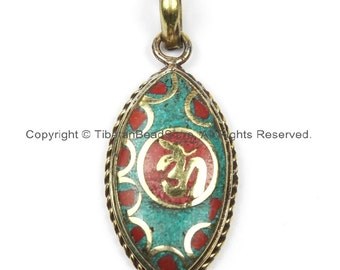 Nepal Tibetan OM Mantra Pendant with Brass, Turquoise, Coral Inlays Om Pendant Nepalese Pendant Tibetan Pendant Tibet Pendant - WM5917
