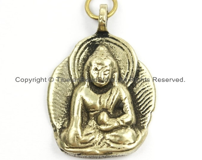 Featured listing image: Tibetan Brass Buddha Charm Pendant - Small Buddha Pendant - Buddha Amulet - Nepal Tibetan Jewelry- Buddha Amulet- TibetanBeadStore- WM5904