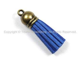 Mini Suede Tassels, Fringe Tassels, Tassel Charms, Jewelry Tassels, Small Tassels, Bronze Capped Fringe Tassels- TibetanBeadStore - T167-1
