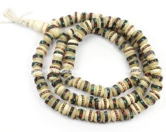 108 Beads 6mm-7mm Size Tibetan White Bone Mala Prayer Beads with Brass, Copper, Turquoise, Coral Inlays- Malas Tibetan Prayer Beads- PB12XS