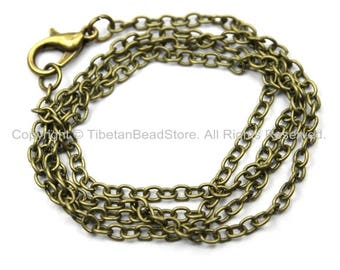 """1 Chain 18"""" inches Antiqued Bronze Plated Brass Long Necklace Chain with Lobster Clasp- 18 Inches Jewelry Chain- Necklace Chain- C36-1"""