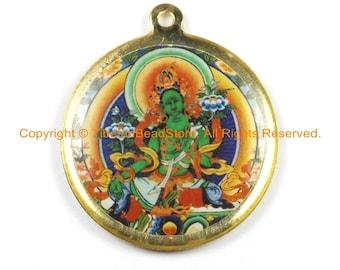Reversible Green Tara & Kalachakra Tibetan Pendant - Enamel Pendant Earring Supplies Jewelry Supplies Tibetan Pendant- WM6321