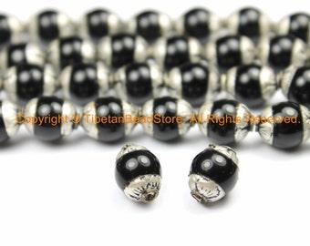 2 BEADS - Small Black Onyx Tibetan Beads with Repousse Real Silver Caps - Handmade Tibetan Beads - B3112-2