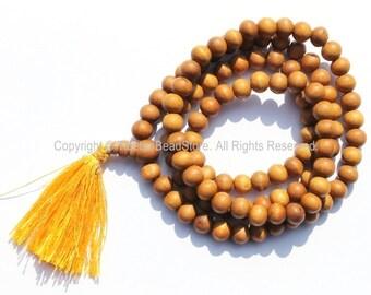 108 beads - Tibetan Natural Sandalwood Mala Prayer Beads - 8mm - Tibetan Mala Beads - Mala Making Supplies - PB98S