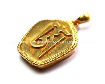 "Gold Plated Tibetan ""OM"" Mantra Tibetan Ghau Prayer Box Pendant - Tibetan Ghau Charm Amulet Pendant - OM Ghau Pendant - WM7791"