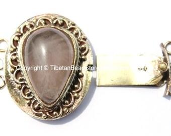 OOAK LARGE Tibetan Brass Clasp with Rose Quartz Inlay - Ethnic Tribal Nepal Tibetan Box Clasps - Tibetan Beads - Tibetan Clasps - B2660