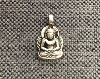 92.5 Sterling Silver Small Buddha Charm Pendant - Silver Buddha Pendant - Silver Tibetan Buddha Charm Pendant - Handmade Jewelry - SS8006