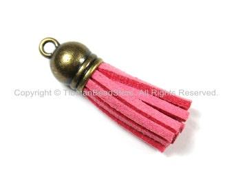 Mini Suede Tassels, Fringe Tassels, Tassel Charms, Jewelry Tassels, Small Tassels, Bronze Capped Fringe Tassels- TibetanBeadStore - T151-1