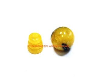 1 SET Tibetan Amber Color Resin Guru Bead Set with Inlays - Tibetan Guru Beads - Inlaid Resin Guru Beads - Mala Supplies - GB53-1