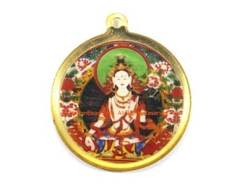 Reversible Tara & Kalachakra Tibetan Pendant - Enamel Pendant Earring Supplies Jewelry Supplies Tibetan Pendant- WM7717