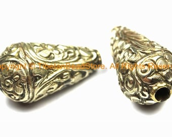 4 BEADS BIG Ethnic Tribal Metal Floral Beads - Tibetan Silver Handmade Long Floral Cone Beads - Jewelry Making Supplies - Beads - B3117-4