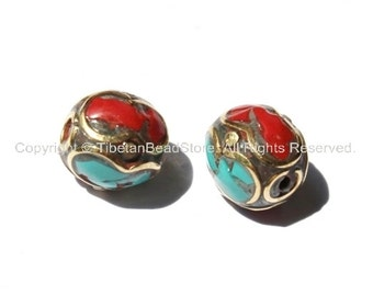 2 beads - Tibetan Oval Beads with Brass, Turquoise, Coral Inlay - Ethnic Nepalese Tibetan Brass Inlay Beads - B1388