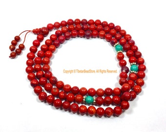 Red Colored Bone Tibetan Mala Prayer Beads with Turquoise & Metal Spacers - 8mm Size Red Beads Ethnic Tibetan Mala Prayer Beads - PB205