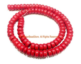 8mm Red Color Rondelle Flat Disc Beads - 1 STRAND 8mm x 4mm Size Red Beads Roundelle Beads - 15 Inches - Approx 90 Beads Per Strand - GM90