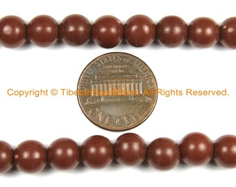 50 BEADS Brown Acrylic Resin Beads 7-8mm - Beads - TibetanBeadStore Mala Making Supplies - LPB145-50
