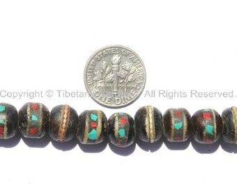 10 BEADS 9mm-10mm Size Black Bone Inlaid Tibetan Beads with Turquoise & Coral Inlays - LPB10-10