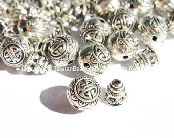 10 Set -  Light Weight Tibetan Silver 3 Hole Guru Bead Sets - Guru Beads - Mala Making Supplies - GB42-10