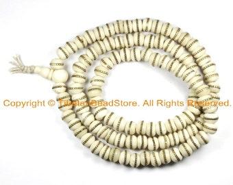 10mm Size White Bone Mala Prayer Beads with Brass Inlays - Tibetan Prayer Beads - Tibetan Mala - Mala Making Supplies - PB72B