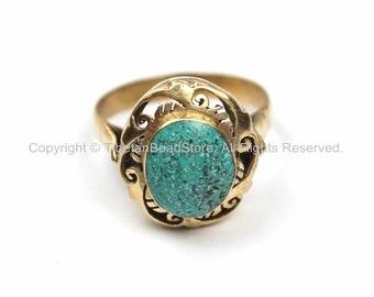 Tibetan Turquoise Brass Ring (SIZE 7.25) Ethnic Ring Tribal Boho Ring Tibet Yoga Ring Nepal Ring TibetanBeadStore Tibetan Jewelry- R123-7.25