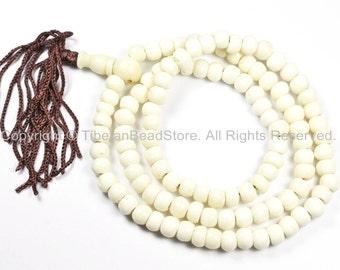 108 beads Tibetan White Bone Mala Prayer Beads - 6mm-7mm - TibetanBeadStore Mala Beads - Bracelet & Mala Making Supplies - PB78P