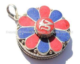 Tibetan OM Mantra Flower Ghau Prayer Box Amulet Pendant with Lapis & Coral Inlays - Tibetan OM Pendant - Handmade Tibetan Jewelry - WM5165MC