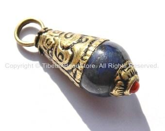 Small Tibetan Lapis Drop Charm Pendant with Repousse Brass Caps & Coral Accent - Small Ethnic Nepal Tibetan Handmade Jewelry - WM4693
