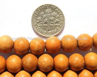 10 BEADS Tibetan Natural Wood Beads - 10mm Wood Beads - Tibetan Beads - Mala Making Supplies - LPB95B-10