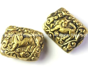 2 BEADS  Tibetan Beads - Tibetan Brass Focal Beads with Repousse Carved Animal Details - Unique Ethnic Handmade Tibetan Beads - B2418