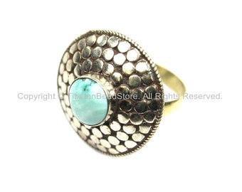 Ethnic Tribal Tibetan Irregular Circular Dotted Shield Tibetan Ring with Turquoise Inlay (SIZE 9.25) Nepal Ring TibetanBeadStore- R122-9.25