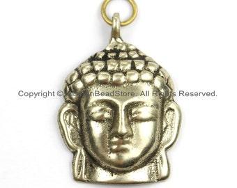 Tibetan Buddha Head Pendant - Buddha Charm- Nepalese Pendant- Nepal Tibet Brass Buddha Pendant - TibetanBeadStore Buddha Pendant- WM5906