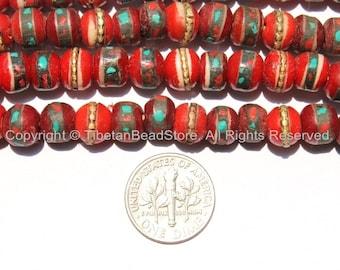 50 BEADS 9-10mm Red Bone Inlaid Tibetan Beads with Turquoise & Coral Inlays - Red Bone Inlaid Beads - Tibetan Bone Beads -  LPB13-50