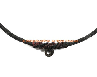"""Black Handwoven Cord Adjustable Necklace - 3mm Thick Cord 28"""" Necklace - Unisex Boho Surfer Jewelry Cord Choker - © TibetanBeadStore - BK27"""