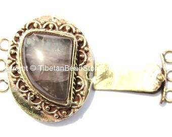 OOAK LARGE Tibetan Brass Clasp with Rose Quartz Inlay - Ethnic Tribal Nepal Tibetan Box Clasps - Tibetan Beads - Tibetan Clasps - B2663