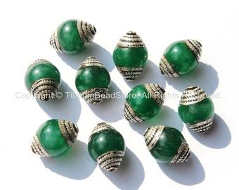 10 BEADS - Ethnic Tibetan Green Jade Beads with Tibetan Silver Caps - Ethnic Nepal Tibetan Artisan Handmade Beads - B1820-10