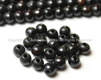20 BEADS Tibetan Dark Black Brown Bone Beads - 6mm - Tibetan Mala Beads - Mala Making Supplies - LPB77-20