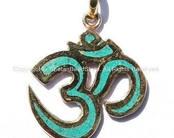 2 PENDANTS - Tibetan Sanskrit OM Pendants with Turquoise Inlays - Handmade Nepal Tibetan Jewelry - WM1171-2