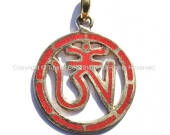 Tibetan Om Brass Pendant with Coral Inlay - Carved Om Tibetan OM Pendant - Handmade Jewelry - WM1140