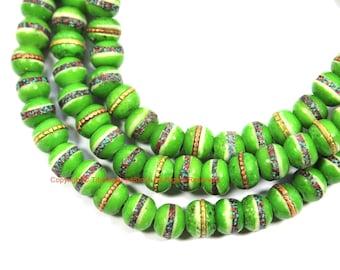 108 BEADS Light Green Bone Prayer Beads with Turquoise, Coral & Metal Inlays - 8mm Size - Tibetan Bone Mala - Bone Prayer Beads- PB163