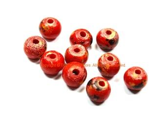 10 BEADS Red Black Tan Bone Beads 11mm x 9mm - Ethnic Red Black White Dyed Bone Beads Buffalo Bone Beads Tibetan Bead Store - B3229-10